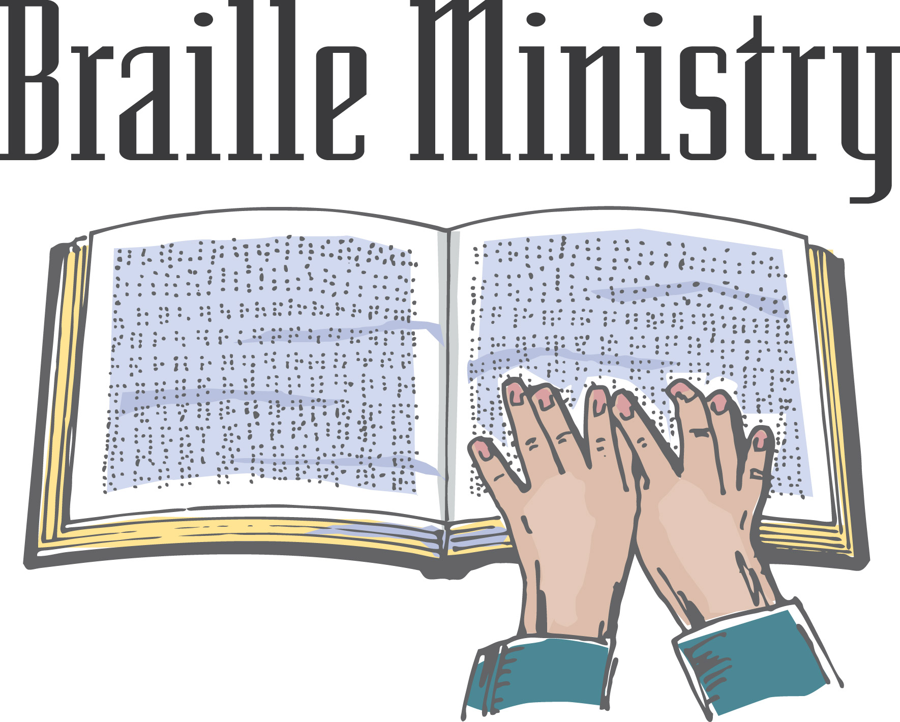 Hands with book reading braille and words Braille Ministry