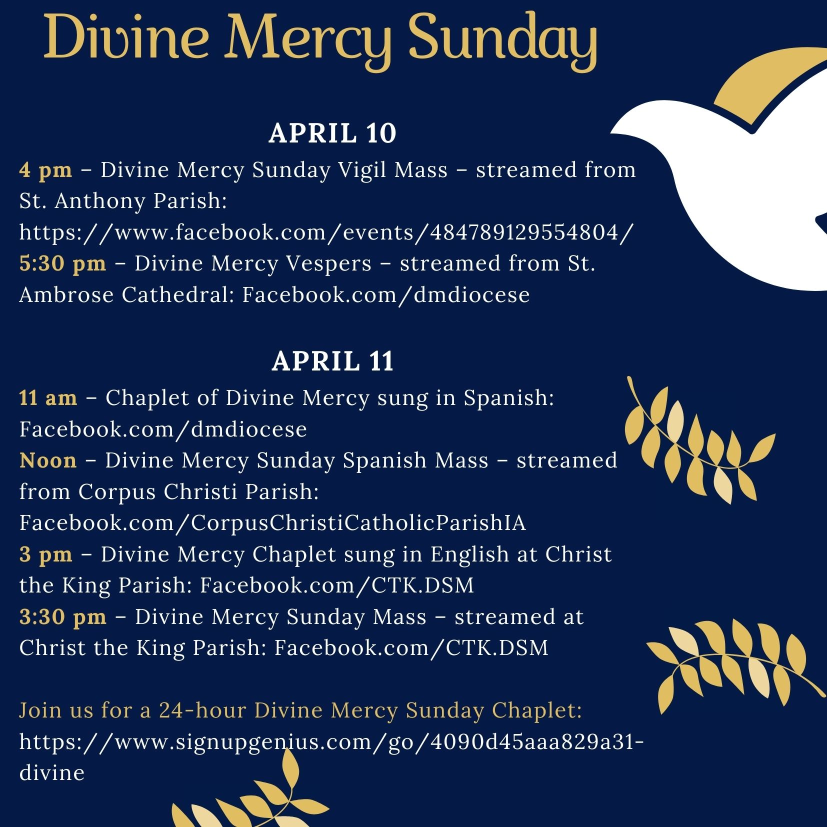 Schedule for Divine Mercy Sunday events