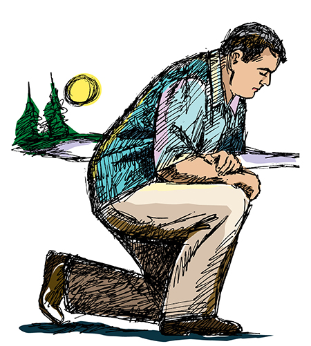 Graphic of a man kneeling